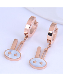 Fashion Rose Gold Small Rabbit Five-pointed Star Pendant Titanium Steel Earrings