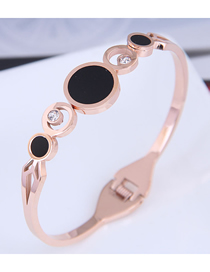 Fashion Rose Gold Titanium Steel Round Diamond Cutout Bracelet