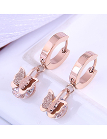 Fashion Rose Gold Color Titanium Steel Butterfly Micro-inlaid Zircon Earrings
