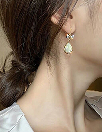 Fashion Gold Color Bow Drop-shaped Cat Eye Alloy Earrings