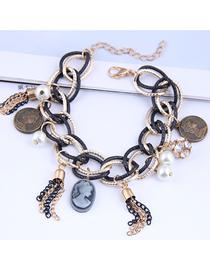 Fashion Color Mixing Metal Beauty Head Tassel Multilayer Bracelet
