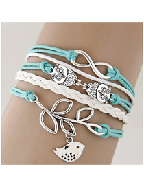 Fashion Blue Branches And Leaves Bird Owl Alloy Handmade Multi-layer Braided Bracelet