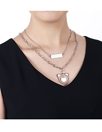 Fashion Silver Color Stainless Steel Panda Double Chain Necklace