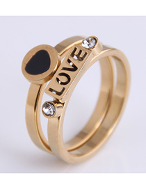 Fashion Gold Color Love Stainless Steel Inlaid Zirconium Love Letter Ring