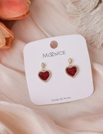 Fashion Red Red Love Heart Earrings