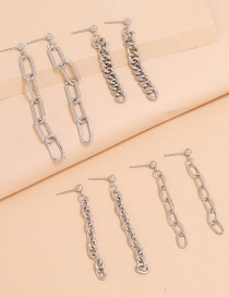 Fashion Silver Set Of Four Silver Thick And Thin Chain Tassel Earrings