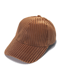 Fashion Brown Vertical Stripes Velvet Solid Color Light Board Baseball Cap
