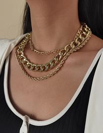 Fashion Golden Multi-layer Thick Chain Twist Cross Necklace