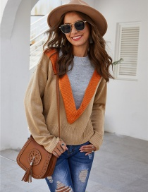 Fashion Camel Pullover Wool Knit Contrast Top