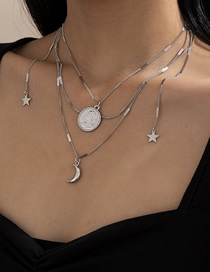 Fashion White K Human Head Embossed Stars And Moon Multilayer Necklace