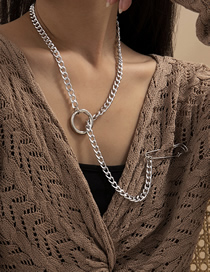 Fashion White Chain Ring Pin Necklace