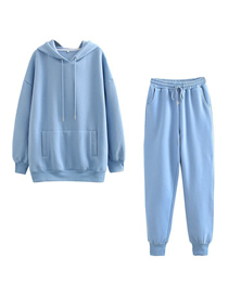 Fashion Blue Hooded Plus Fleece Top And Pants Suit