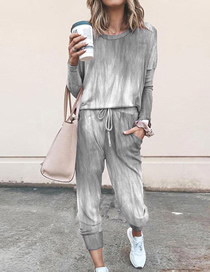Fashion Silver Printed Long-sleeved Top And Pants Suit