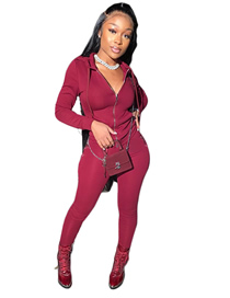 Fashion Fuchsia Solid Color Suit Zipper Pocket Two-piece Suit