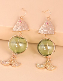 Fashion Green Geometric Round Fish Earrings