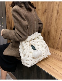 Fashion White Plush Bronzing Feather Chain Shoulder Messenger Bag