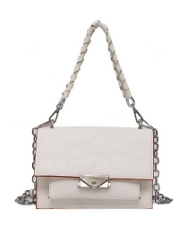 Fashion Creamy-white Chain Stone Pattern Lock One Shoulder Messenger Bag