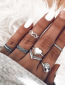 Fashion Silver Color Alloy Ring 7 Set
