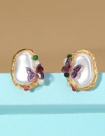 Fashion Purple Resin Butterfly Shaped Imitation Pearl Earrings