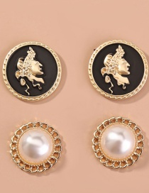 Fashion Gold Color Roman Portrait Pearl Earring Set