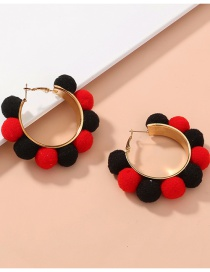 Fashion Color Mixing Hairball Ring Alloy Hit Color Earrings