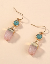 Fashion Pink Irregular Cluster Natural Stone Geometric Alloy Earrings