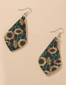 Fashion Geometry Geometric Sunflower Print Leather Earrings
