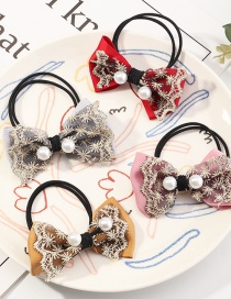 Fashion Suit Bowknot Pearl Lace Hair Rope Set