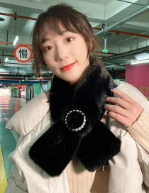 Fashion Plush Black Thickened Warm Cross Pearl Collar Wool Scarf