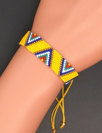 Fashion Yellow Rice Beads Geometric Beaded Woven Handmade Bracelet