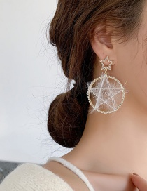 Fashion White Five-pointed Star Dream Catcher Circle Plush Earrings