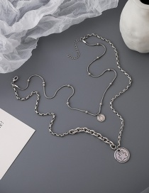 Fashion Silver Color Bear Titanium Steel Long Round Multilayer Necklace