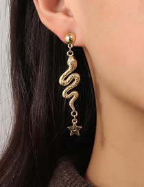 Fashion Gold Color Metal Snake-shaped Curved Five-pointed Star Stud Earrings
