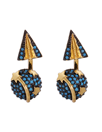 Fashion Royal Blue Geometric Round Arrow Alloy Five-pointed Star Earrings