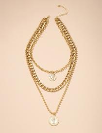 Fashion Gold Color Alloy Portrait Pendant Thick Chain Multilayer Necklace