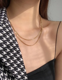 Fashion Gold Color Steel Titanium Chain Stitching Multilayer Necklace