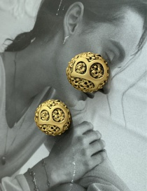 Fashion Old Gold Letter Round Alloy Earrings