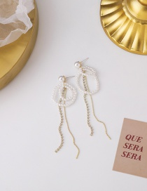 Fashion Gold Color Long Fringed Pearl And Diamond Geometric Earrings