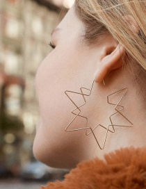 Fashion Gold Color Copper Metal Hollow Five-pointed Star Earrings