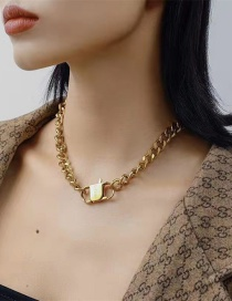 Fashion Gold Color Thick Chain Stainless Steel Clasp Necklace