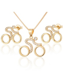Fashion Gilded Zirconium Cycling Bicycle Earrings And Necklace Set