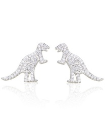 Fashion Platinum Plated Zircon Dinosaur Copper Gold Plated Earrings