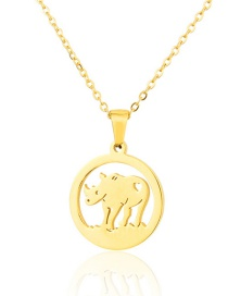 Fashion Gold Color Titanium Steel Hollow Bull-shaped Hollow Necklace