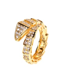 Fashion Gold Color Snake-shaped Diamond-set Copper And Gold-plated Open Ring