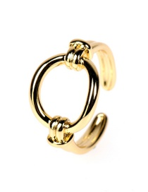 Fashion Gold Color Openwork Circle Gold Plated Copper Ring