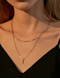 Fashion Kc Gold Double-layer Necklace With A Rectangular Pendant