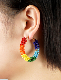Fashion Color Mixing Geometric Rice Bead Beaded Mixed Color Earrings