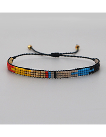 Fashion Mixed Color A Hand-woven Rice Beads Geometric Color Matching Bracelet