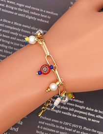 Fashion Color Mixing Stainless Steel Gold Chain Glazed Flower Bead Natural Freshwater Pearl Bracelet