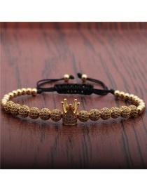 Fashion Gold Color Crown Micro-inlaid Zircon Diamond Ball Crown Braided Adjustable Bracelet